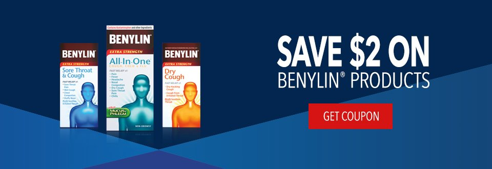 Save $2 on benylin products, Get Coupon