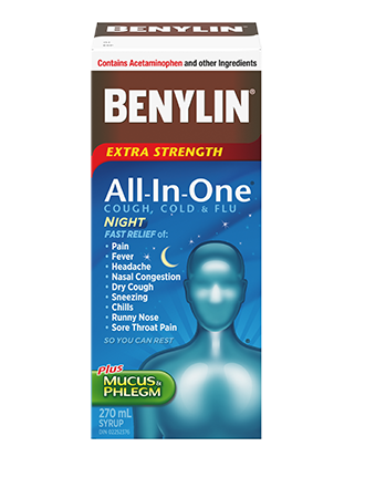 BENYLIN® All‑In‑One® COLD AND FLU NIGHT Syrup, 270mL. For relief of: pain, fever, headache, mucus & phlegm, nasal congestion, dry cough, sneezing, chills runny nose, sore throat pain so you can rest