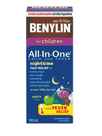 BENYLIN® For Children All‑In‑One® COLD AND FEVER NIGHTTIME Syrup, 100ml. For relief of: Fever, runny nose, dry cough, sneezing, sore throat pain, aches & pains so you can rest