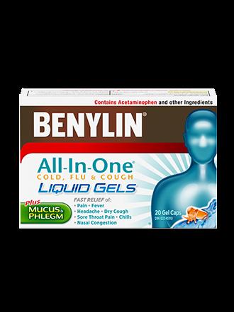 Benylin All-in-One Cold, Flu & Cough Liquid Gels, 20 Gel Caps
