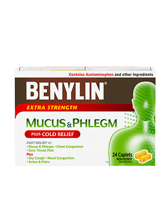 BENYLIN® MUCUS & PHLEGM PLUS COLD RELIEF Caplets, 24 caplets. Relief of: mucus & phlegm, dry cough, sore throat and nasal congestion