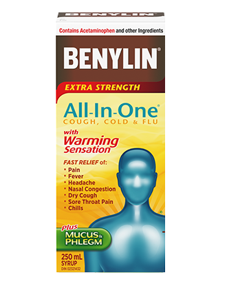 Benylin All-in-One Extra Strength Warming Syrup for Cold, Flu & Cough, 250 ML