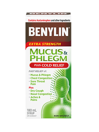 BENYLIN® MUCUS & PHLEGM PLUS COLD RELIEF Syrup, 180mL. Relief of: mucus & phlegm , dry cough, nasal congestion and sore throat pain