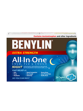 Benylin All-In-One® Cold and Flu Night Caplets, 24 caplets. For relief of: cough and flu symptoms so you can rest