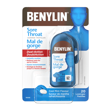BENYLIN® Sore Throat Lozenge, Cool Mint Cough Drop, 20 lozenges