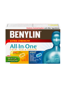 Benylin All-in-One Extra Strength Cold, Flu & Cough Day & Night, 40 Caplets