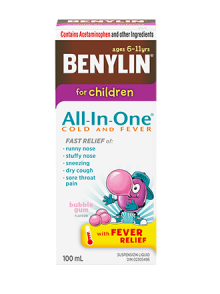 Benylin All-in-One Cold & Fever Syrup for Children, 100 ML