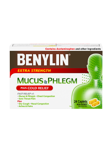 Benylin Extra Strength Mucus & Phlegm with Cold Relief, 24 Caplets