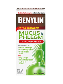 Benylin Extra Strength Mucus & Phlegm Syrup with Cold Relief, 180 ML