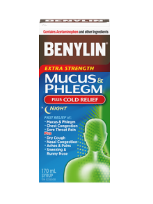 BENYLIN® MUCUS & PHLEGM PLUS COLD RELIEF NIGHT Syrup, 170mL. Relief of: dry cough, nasal congestion, runny nose and sore throat pain so you can rest.