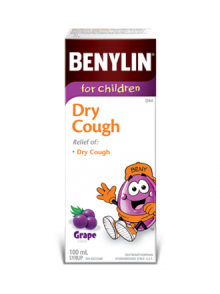 Benylin for Children Dry Cough syrup, grape flavour, 100mL. For relief of: dry cough.