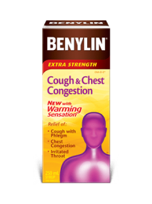 Benylin Extra Strength Cough & Chest Congestion with Warming Sensation syrup, 250mL. For relief of: cough with phlegm, chest congestion, and irritated throat.