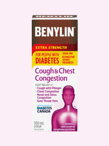 Benylin Extra Strength for People with Diabetes. Cough & Congestion Syrup for relief of: cough, chest congestion, nasal and sinus congestion and sore throat pain, 100mL.