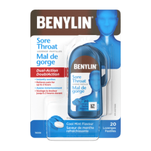 Benylin Sore Throat Lozenge with Dual-Action instant sore soothing and up to 2-hour pain relief. Cool Mint flavour, 20 Lozenges.